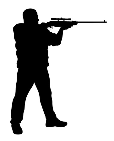 shooter: Vector illustration of shooter silhouette