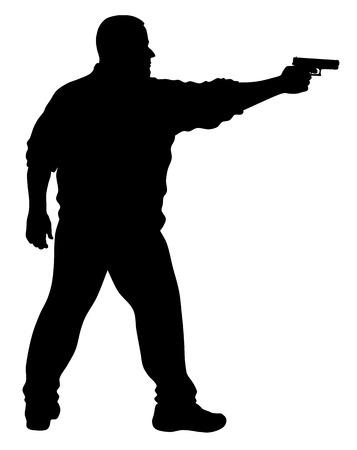 gun silhouette: Vector illustration of shooter silhouette