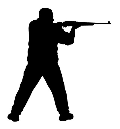 Vector illustration of shooter silhouette