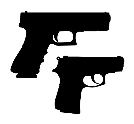 Vector illustration of automatic pistols slhouettes Çizim