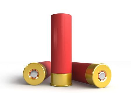 caliber: 3d render of hunting cartridges over white