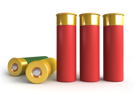 hunting: 3d render of hunting cartridges over white background Stock Photo