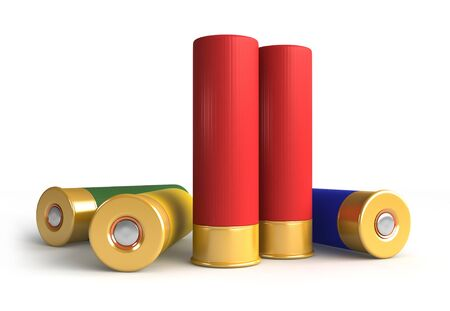 caliber: 3d render of hunting cartridges over white