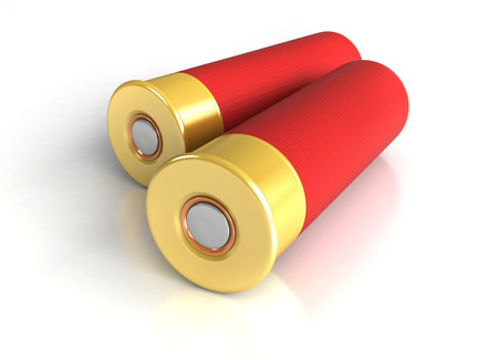 caliber: 3d render of hunting cartridges over white background Stock Photo