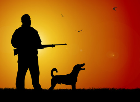 rifleman: Illustration of hunter and hound silhouettes on sunset background Stock Photo