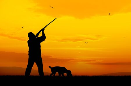 gunner: Illustration of hunter and hound silhouettes on sunset  Stock Photo