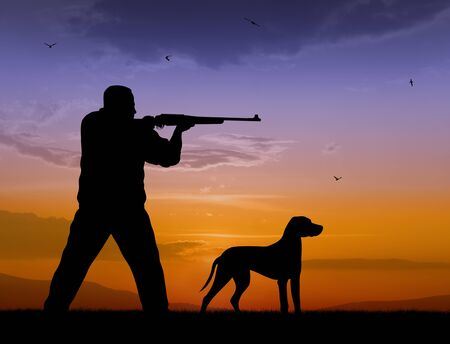 rifleman: Illustration of hunter and hound silhouettes on sunset  Stock Photo