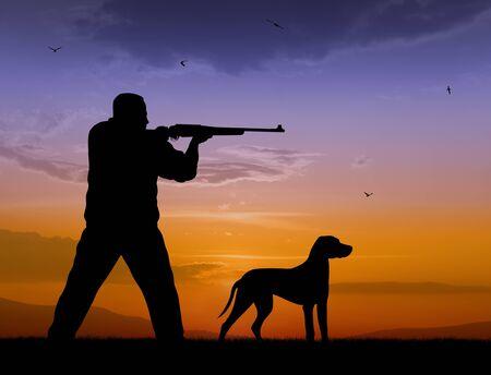 rifleman: Ilustraci�n del cazador y perro siluetas en la puesta de sol