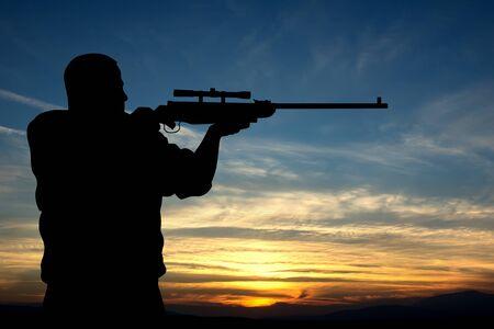 rifleman: Illustration of hunter silhouette on sunset
