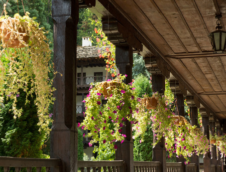 tranquilly: Detail of Monastery with flowers in ceramic pots