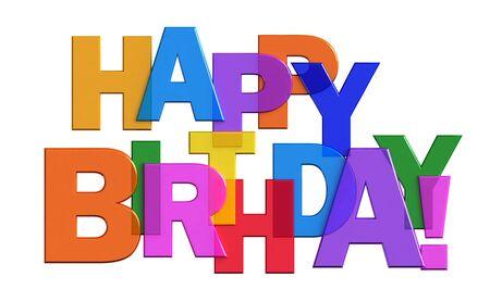 auguri di compleanno: 3d rendering illustrazione Buon compleanno isolato su sfondo bianco