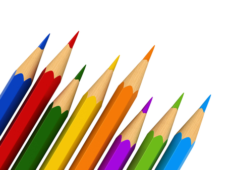 white colour: 3d render of colour pencils isolated over white background Stock Photo
