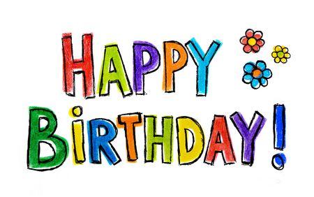 colour pencil: Hand drawn illustration Happy Birthday on white background