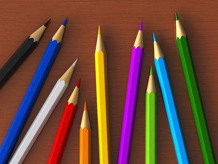 colour pencils: 3d render of colour pencils over wooden table Stock Photo