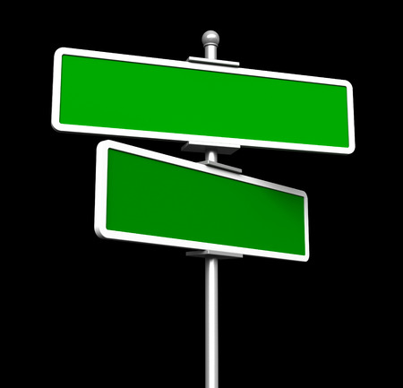 street sign: 3d render of blank green signs isolted on black background