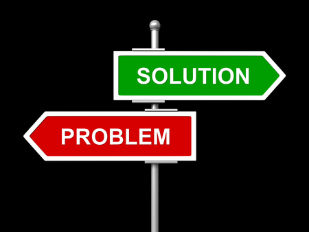 solutions freeway: 3d render of Solution and problem road sign isolated on black background