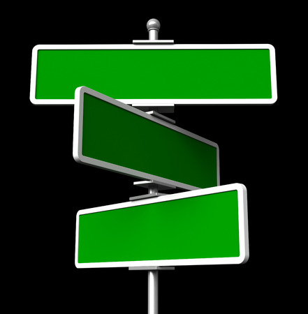 street signs: 3d render of blank green signs isolted on black background