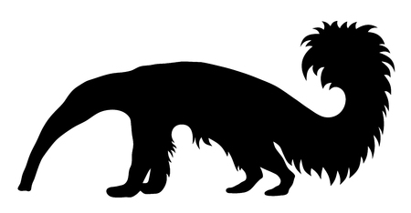 animal tongue: Vector illustration of giant anteater silhouette