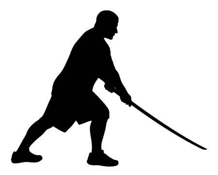 kata: Vector illustration of man with bokken silhouette