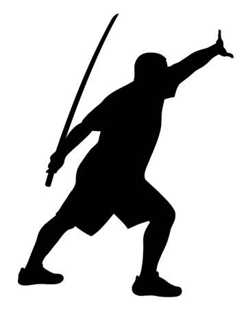 kata: Vector illustration of man with bokken silhouette