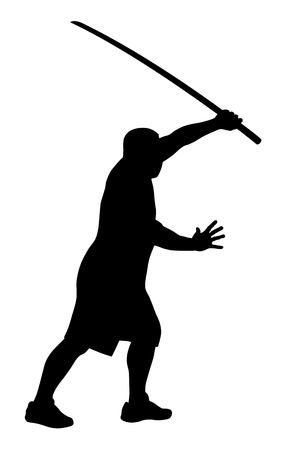 strong men: Vector illustration of man with bokken silhouette