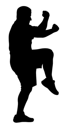tai chi: Vector illustration of man silhouette doing martial art exercises