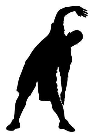 trainers: Vector illustration of man doing exercises silhouette