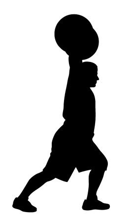 strong men: Vector illustration of weight lifter athlete silhouette