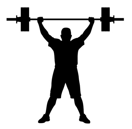 weight: Vector illustration of weight lifter athlete silhouette