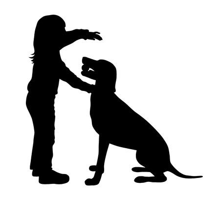 silueta niño: Ilustración del vector del niño y el perro siluetas