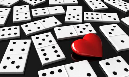 chain reaction: 3d render of heart and domino blocks