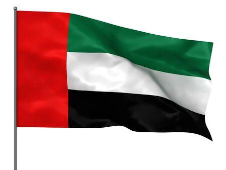arab flags: Waving united arab emirates flag isolated over white background