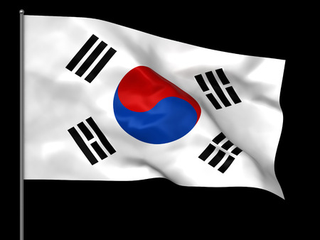 south: Waving South Korean flag isolated over black background