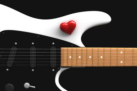 guitarra: 3d rinden de corazón rojo sobre el blanco de la guitarra