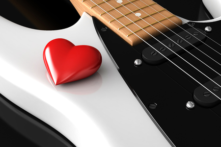 over white: 3d render of red heart over white guitar