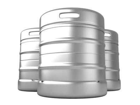3D render van biervaten geïsoleerd over witte achtergrond Stockfoto