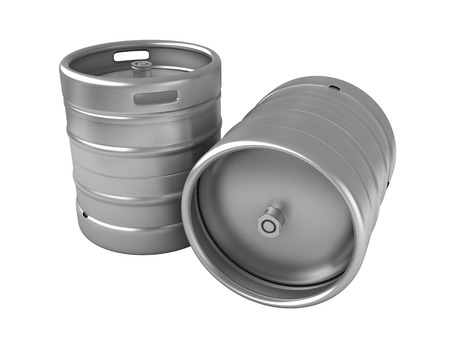 kegs: 3d render of beer kegs isolated over white background Stock Photo