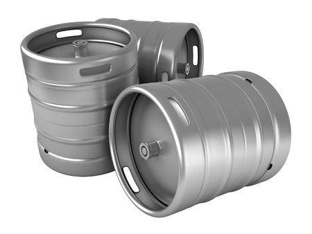 steel drum: 3d render of beer kegs isolated over white background Stock Photo