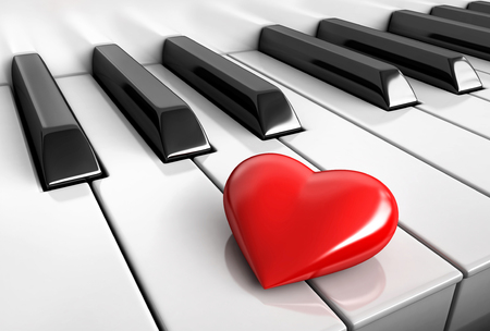 3d render of red heart over piano keys