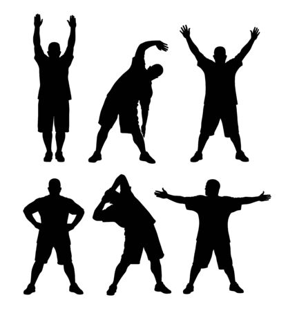 strong men: Vector illustration of man doing exercises silhouettes Illustration