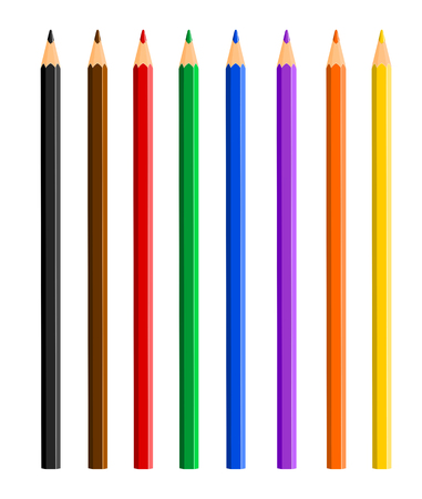 color pencil: Vector illustration of color pencils on white background
