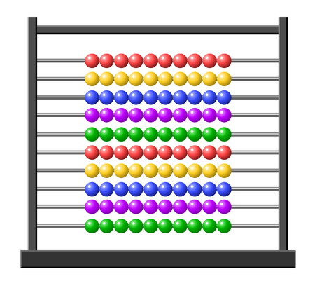 subtraction: Vector illustration of an abacus with colorful balls