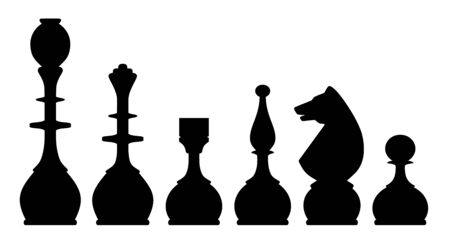 spawn: Vector illustration of chess pieces silhouettes over white background Illustration