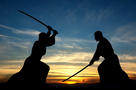 aikido: Martial art sword combat silhouettes illustration on sunset background