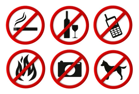 cell phones not allowed: 3d render of prohibition signs isolated over white backgtound