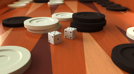 black boards: 3D render of  traditional backgammon game board Stock Photo