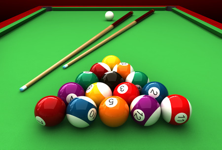 3d render of billiard balls and table Banco de Imagens