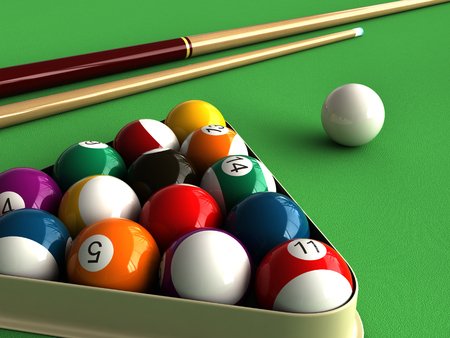 billiards tables: 3d render of billiard balls and table Stock Photo