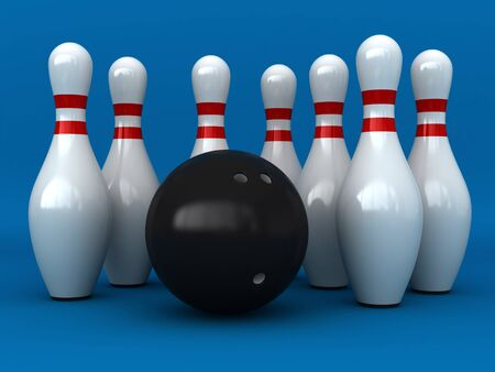 pastimes: 3d render of bowling pins and ball over blue background