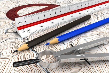 topographic: 3d render of engineerig tools over topographic map